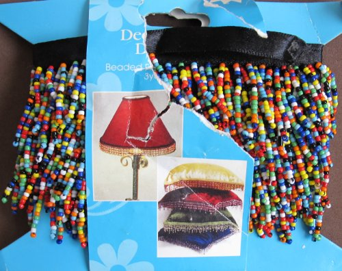 Craft Sewing DECORATIVE 'BEADED' FRINGE RIBBON TRIM Value Pack of 3 YARDS w Multi-Color SEED BEAD FRINGES