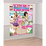 Barbie Happy Birthday Scene Setter Wall Decorating Kit (Pink) Party Accessory