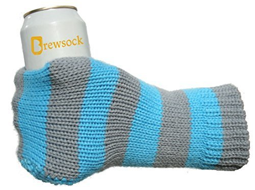 The Orignal BREWSOCK - Knitted Beer or Drink Mitten Koozie - Blue / Gray. The knit mitt glove with a built in bottle or can holder that is better than a custom koosie.
