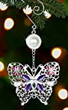 "Butterfly Hanging Ornament -- Colorful Crystals and Pearls Integrated Into a Beautiful Metal Filigree Ornament -- 5 1/2""h"