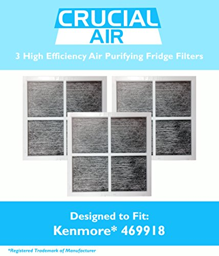3 Kenmore Elite 9918 Air Purifying Fridge Filters, Part # 469918 & 04609918000, Designed & Engineered by Crucial Air