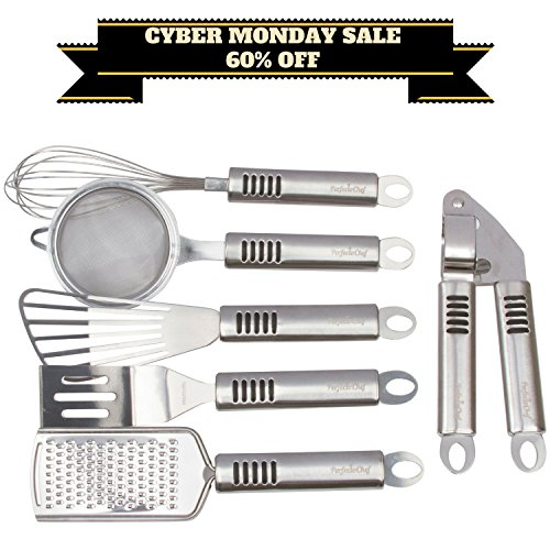 For Cooking Lovers - Introducing the newest Cooking Gadgets 6 Piece Set by PerfectoChef - Cool & Unique Kitchen Utensils for Men & Women - Grater - Whisk - Garlic Press - Spatula - Strainer - Turner (Chef Trends Cookware Set compare prices)