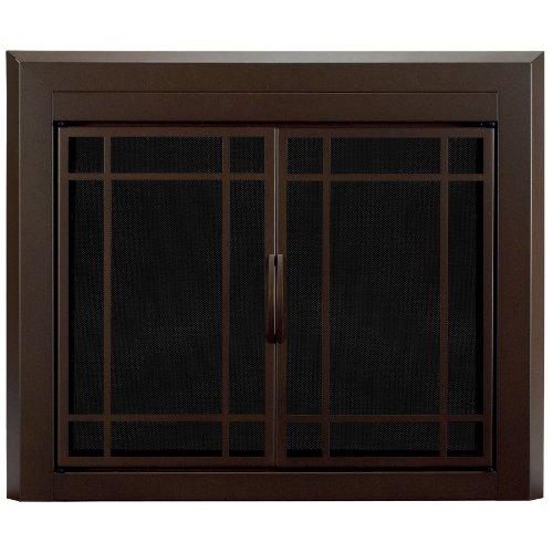 Pleasant Hearth EN-5500 Pleasant Hearth Enfield Glass Firescreen, Small, Burnished Bronze