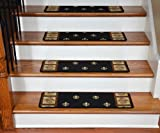 Dean Premium Carpet Stair Treads - Black Fleur-De-Lys 31