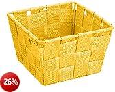 Wenko 21664100cesto Adria Mini giallo-Cestino quadrato, in plastica a intreccio, Polipropilene, 14x 9x 14cm