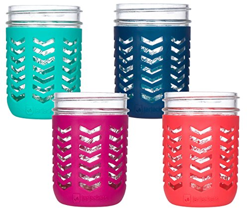 JarJackets Silicone Mason Jar Protector Sleeve - Fits 16oz (1 pint) Wide-Mouth Jars | Package of 4 (Multicolor)
