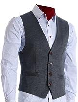 FLATSEVEN Mens Designer Stylish Casual Vest Premium Grey, L (Chest 42)