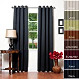 Solid Grommet Top Thermal Insulated Blackout Curtain 84 Length 1 Pair-BLACK - GT