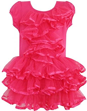 EA61 Girls Dress Peach Pink Tulle Tutu Dancing Party Kids Boutique Size 2 Years