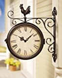 Lawn & Patio - Rooster Double Sided Outdoor Wall Clock By Collections Etc