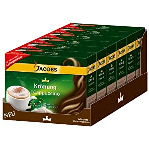 Jacobs Krönung Cappuccino, Pack of 6, 6 x 7 Coffee Pods + Topping