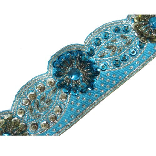 Blue Hand Beaded Cut Style Sequin Stone Trim 1 Yard