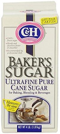 C&H Sugar Baker's Sugar, Pure Cane Ultrafine, 4 Pounds