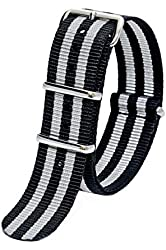 Sutter & Stockton 20mm Grey & Black Striped Interchangeable Replacement Nylon Military Watch Strap Band
