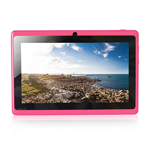 Yuntab Ultrathin 7 inch Android Tablet PC,Google Android 4.4 OS, Allwinner A33 Quad Core CPU Multi-touch Screen, Dual Camera, Wifi ,3D Games supported Rosy