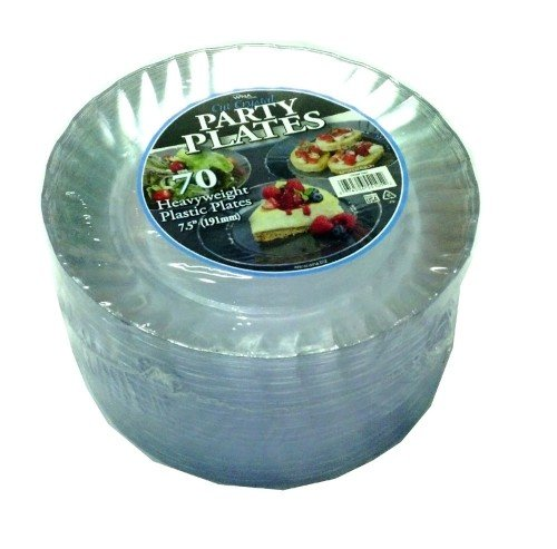 Best Price! WNA Cut Crystal Heavyweight Clear Plastic Party Plates, 70 Count