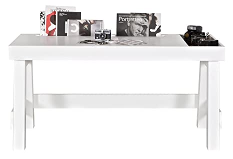 Bureau blanc en bois pin massif, H75 x L150 x P66 cm - PEGANE -