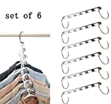 Ipow Metal Wonder Magic Clothes Closet Hangers Clothing Organizer-set of 6