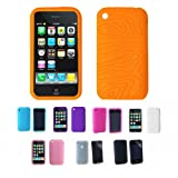 Apple iPhone 3G 3Gs 8GB 16GB 32GB Textured Silicone Skin Case Cover + Free Screen Protector, Orange, One Size
