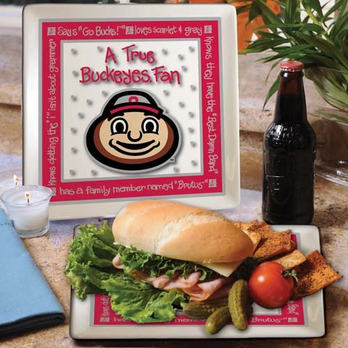 Ncaa Ohio State Buckeyes True Fan Ceramic Square Plate