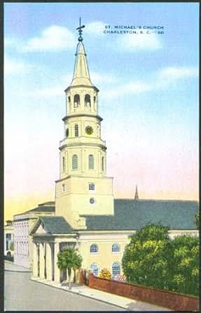St Michael's Church Charleston SC postcard 1930s