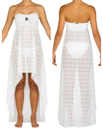 Swim Systems Women's Maxi Dress Swim Cover Up Dreamcatcher White M
