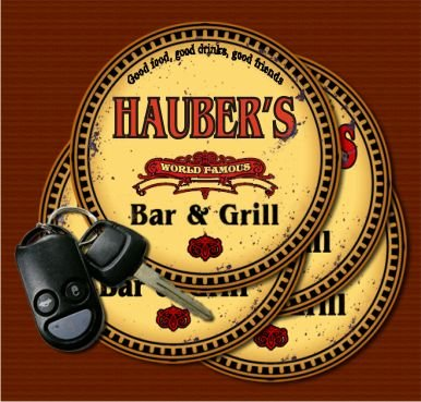 HAUBER'S World Famous Bar & Grill Coasters Set of 4 pavone family crest square coasters coat of arms coasters set of 4