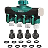 UNIFUN Hose 4 Way Water Splitter with 10 Free Washers and 4 Free Garden Hose Connector