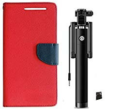 Novo Style Book Style Folio Wallet Case Micromax Canvas Selfie Lens Q345 Red + Wired Selfie Stick No Battery Charging Premium Sturdy Design Best Pocket Sized Selfie Stick