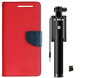 Novo Style Book Style Folio Wallet Case Sony Xperia C5 Red + Wired Selfie Stick No Battery Charging Premium Sturdy Design Best Pocket Sized Selfie Stick
