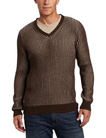 Alex Stevens Men's Ribbed V-neck Sweater, Portobello, Small