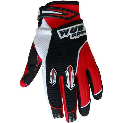 Wulfsport Kids Gloves Pair Stratos MX Junior Motocross Quad Biking (XS 10-12 Years, Red)