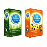 Exure Ribbed and Flavoured condoms, 18 of each (36) - 100% electronically tested, CE0123 certified