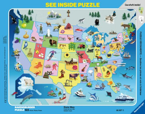 State Map See Inside Frame Puzzle, 63-Piece