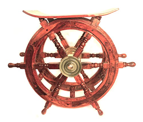 WinnerBrown Teak Wood Ship Wheel Table, 24 inch (Ship Steering Wheel Table compare prices)