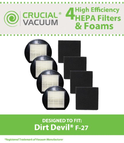 4 Dirt Devil F-27 Replacement HEPA Filters with Foam Filter, Replaces Dirt Devil Vacuum Part # F27 1LY2108000 / 1-LY2108-000, Designed and Engineered by Crucial Vacuum