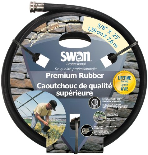 Swan Premium Rubber SNCPM58025 Heavy Duty 5/8-Inch by 25-Foot Black Water Hose (Black Rubber Garden Hose compare prices)