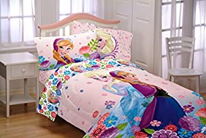 5 Piece Full Size Frozen Bedding Set Includes 4pc Full Sheet Set And T/Full Comforter