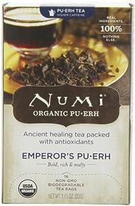 Numi Organic Tea Emperor's Puerh, Full Leaf Black Tea, 16-Count Tea Bags (Pack of 2)