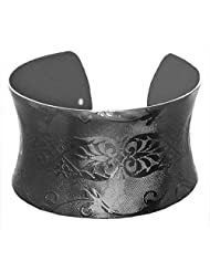 DollsofIndia Black Carved Metal Cuff Bracelet - Metal - Black - B00VNWQZSK