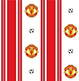 Manchester Utd Stripe Red Wallpaper FREE PASTE with any wallpaper purchase & FREE DELIVERY.