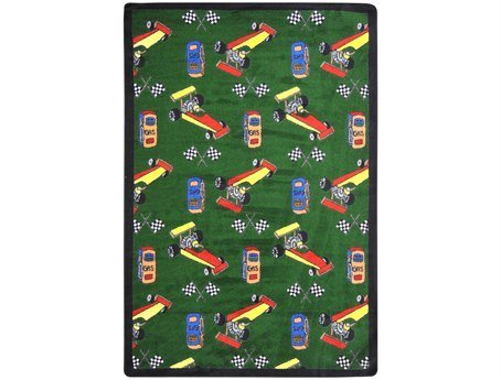 "Joy Carpets Playful Patterns Children's Pit Stop Area Rug, Green, 5'4"" x 7'8"""