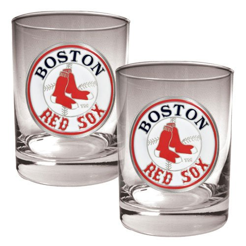 Mlb Boston Red Sox Two Piece Rocks Glass Set - Primary Logo