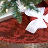 "Nest & Noel 56"" Red Embroidered Taffeta Christmas Tree Skirt"