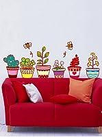 Ambiance Sticker Vinilo Adhesivo Macetas De Flores Y Cactus