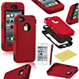 Fulland Hybrid Body Armor Silicone + Hard Case Cover for Apple iPhone 4 4S Plus Stylus Pen and Screen Protector-RED
