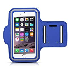 Sport Running Jogging GYM Armband Case Cover Holder for iPhone 6 Plus 5.5 Inch, Water Resistant, Sweat Proof, Built in Key holder Slot (Blue)