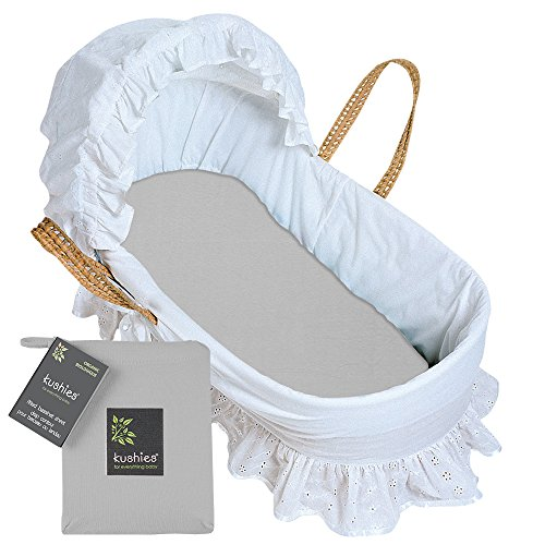 Kushies Baby Organic Jersey Bassinet Fitted Sheet, Grey