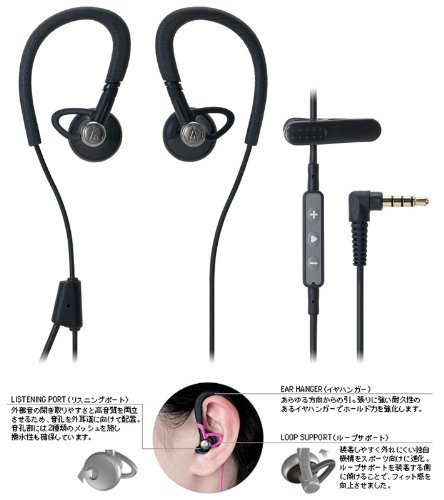 audio-technica+防水仕様iPod%2FiPhone%2FiPad専用インナーイヤーヘッドホン+ブラック+ATH-CP500i+BK