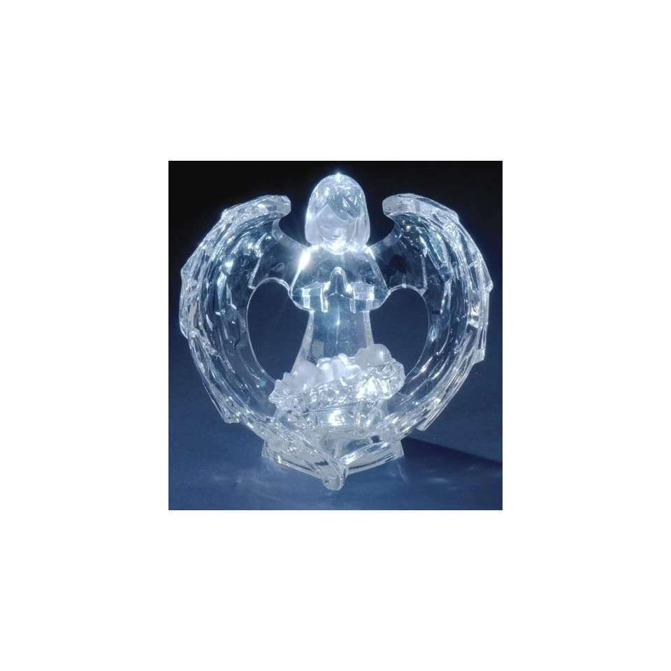 Pack of 2 Icy Crystal LED Lighted Angel with Baby Jesus Christmas Figures 4.75